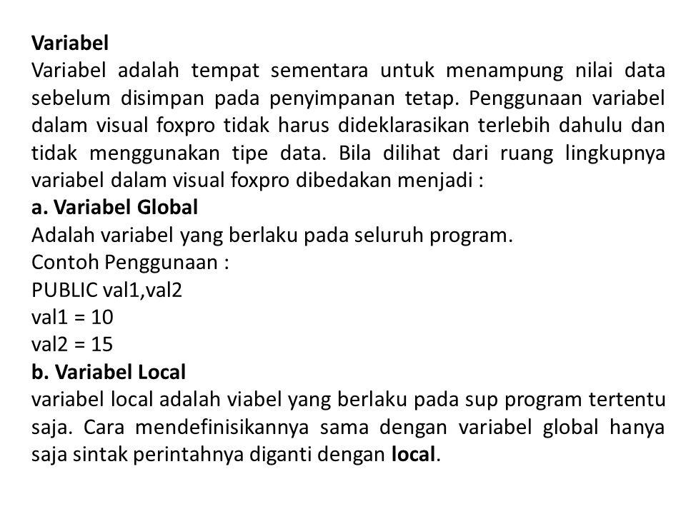 Tipe Data Dalam Microsoft Visual Foxpro dikenal berbagai macam tipe data dengan keterangan sebagai berikut : a.