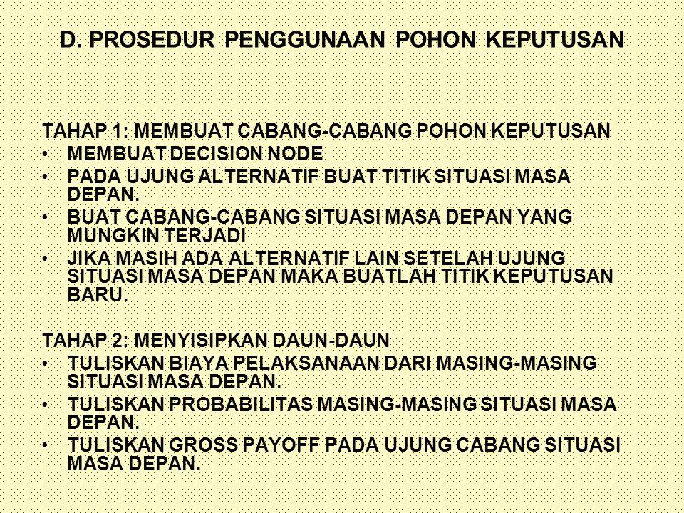 D. PROSEDUR PENGGUNAAN POHON KEPUTUSAN TAHAP 1: MEMBUAT CABANG-CABANG POHON KEPUTUSAN MEMBUAT DECISION NODE PADA UJUNG ALTERNATIF BUAT TITIK SITUASI M
