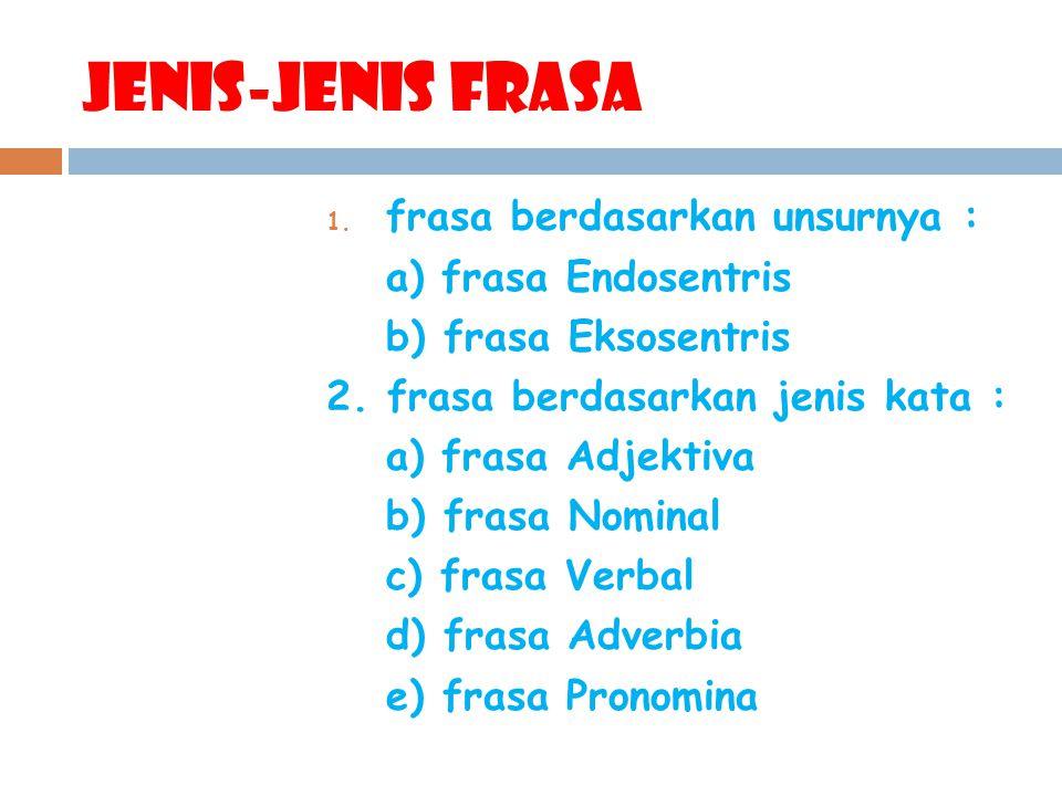 Jenis-Jenis frasa 1. frasa berdasarkan unsurnya : a) frasa Endosentris b) frasa Eksosentris 2. frasa berdasarkan jenis kata : a) frasa Adjektiva b) fr