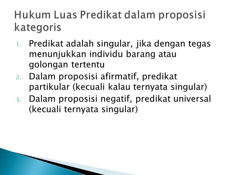 1. Predikat adalah singular, jika dengan tegas menunjukkan individu barang atau golongan tertentu 2. Dalam proposisi afirmatif, predikat partikular (k