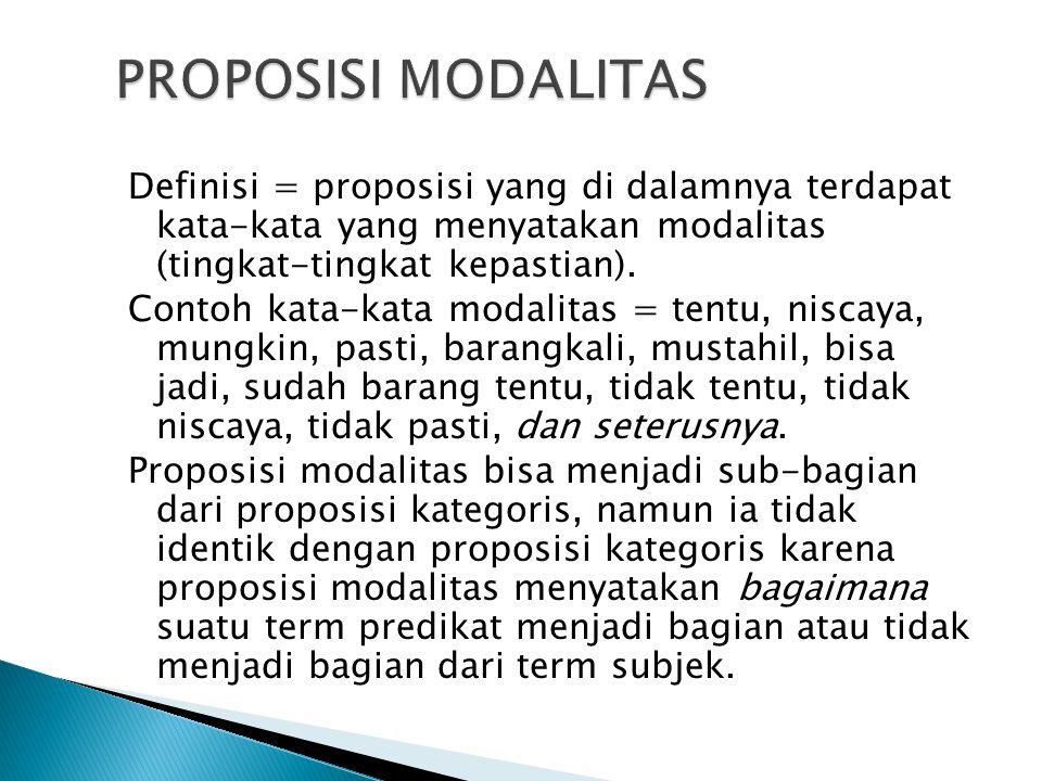 Definisi = proposisi yang di dalamnya terdapat kata-kata yang menyatakan modalitas (tingkat-tingkat kepastian). Contoh kata-kata modalitas = tentu, ni