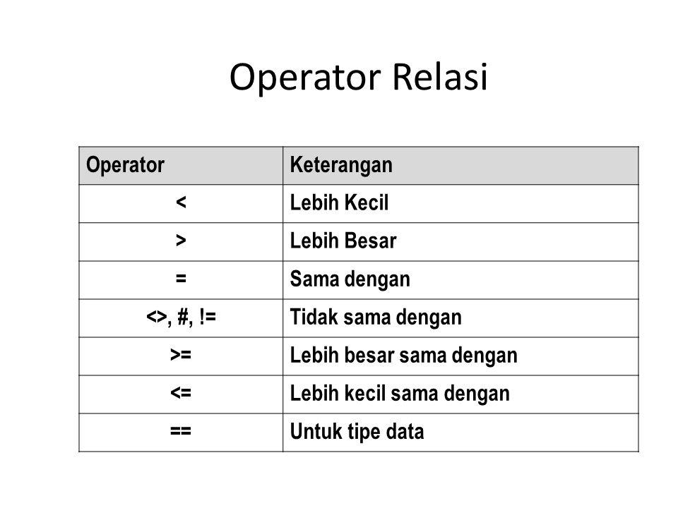 Operator Relasi OperatorKeterangan <Lebih Kecil >Lebih Besar =Sama dengan <>, #, !=Tidak sama dengan >=Lebih besar sama dengan <=Lebih kecil sama dengan ==Untuk tipe data