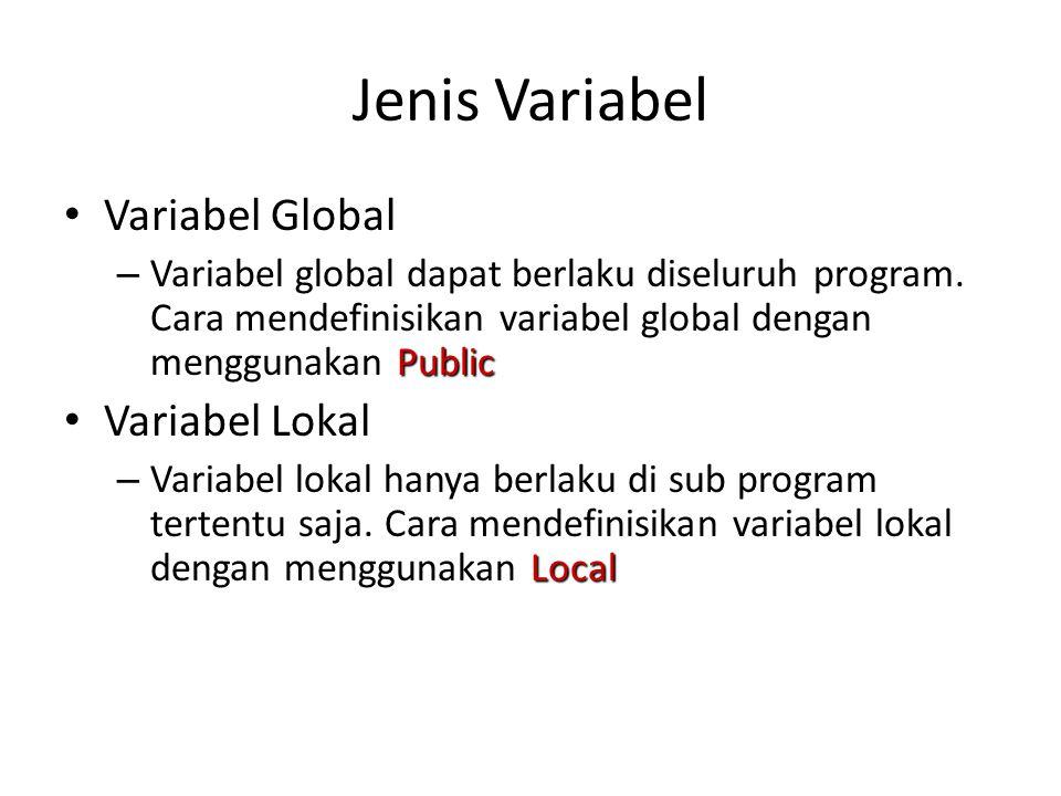 Jenis Variabel Variabel Global Public – Variabel global dapat berlaku diseluruh program. Cara mendefinisikan variabel global dengan menggunakan Public