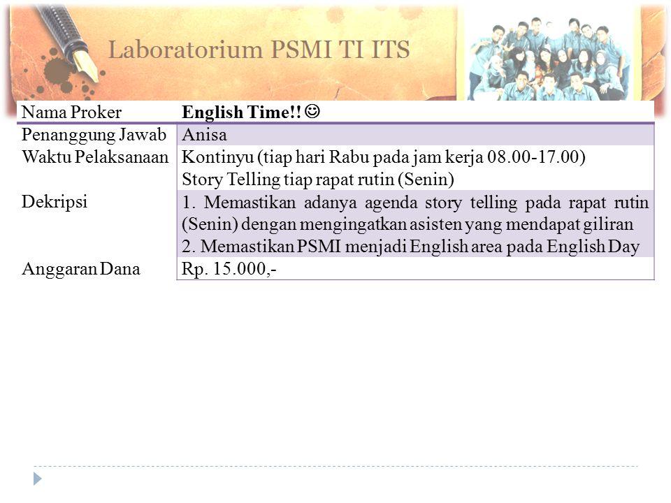 Nama Proker English Time!! Penanggung JawabAnisa Waktu PelaksanaanKontinyu (tiap hari Rabu pada jam kerja 08.00-17.00) Story Telling tiap rapat rutin