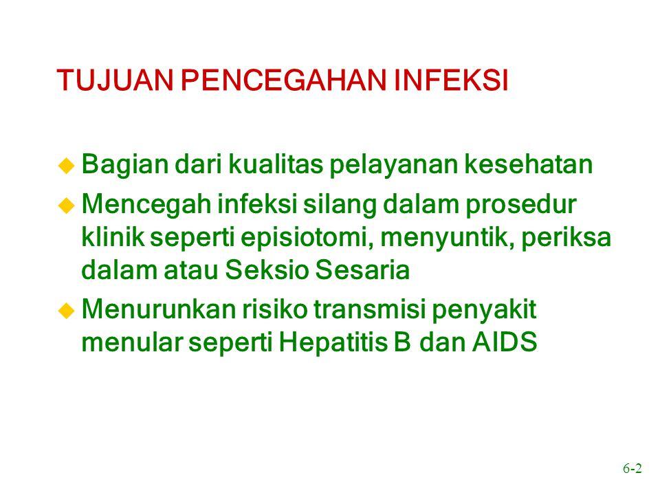 6-2 TUJUAN PENCEGAHAN INFEKSI u Bagian dari kualitas pelayanan kesehatan u Mencegah infeksi silang dalam prosedur klinik seperti episiotomi, menyuntik
