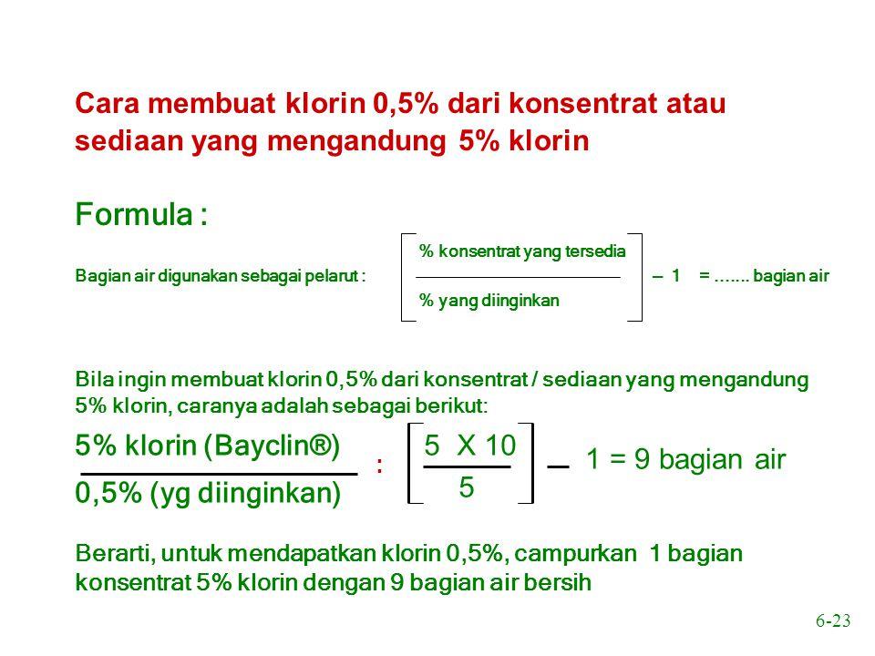 6-23 Cara membuat klorin 0,5% dari konsentrat atau sediaan yang mengandung 5% klorin Formula : Bagian air digunakan sebagai pelarut : % konsentrat yan