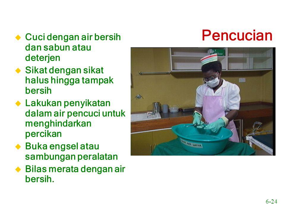 6-24 Pencucian u Cuci dengan air bersih dan sabun atau deterjen u Sikat dengan sikat halus hingga tampak bersih u Lakukan penyikatan dalam air pencuci