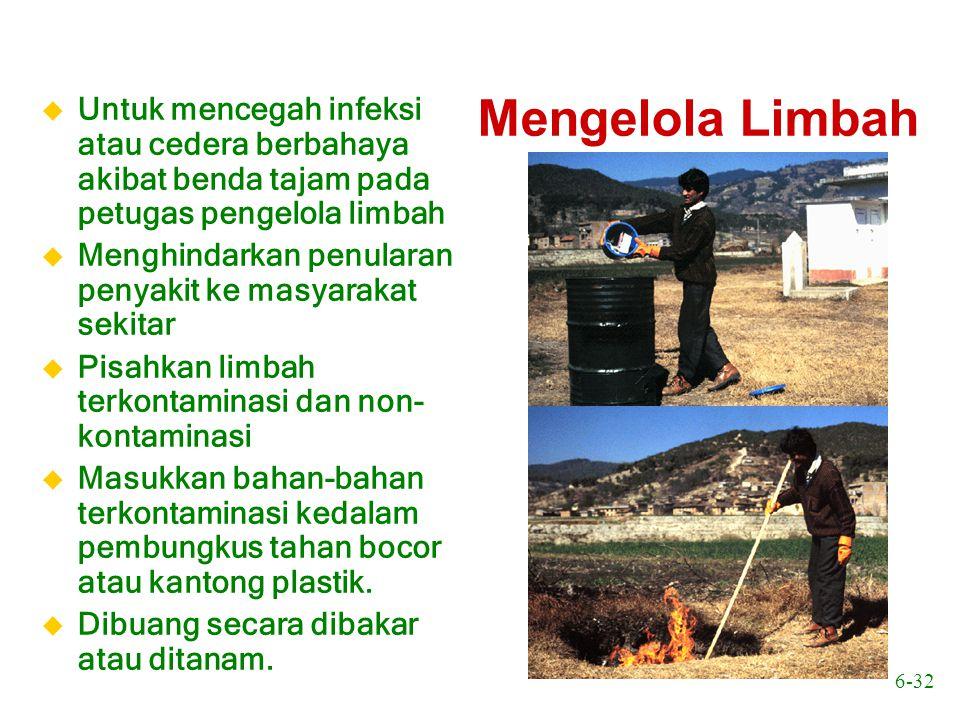 6-32 Mengelola Limbah u Untuk mencegah infeksi atau cedera berbahaya akibat benda tajam pada petugas pengelola limbah u Menghindarkan penularan penyak