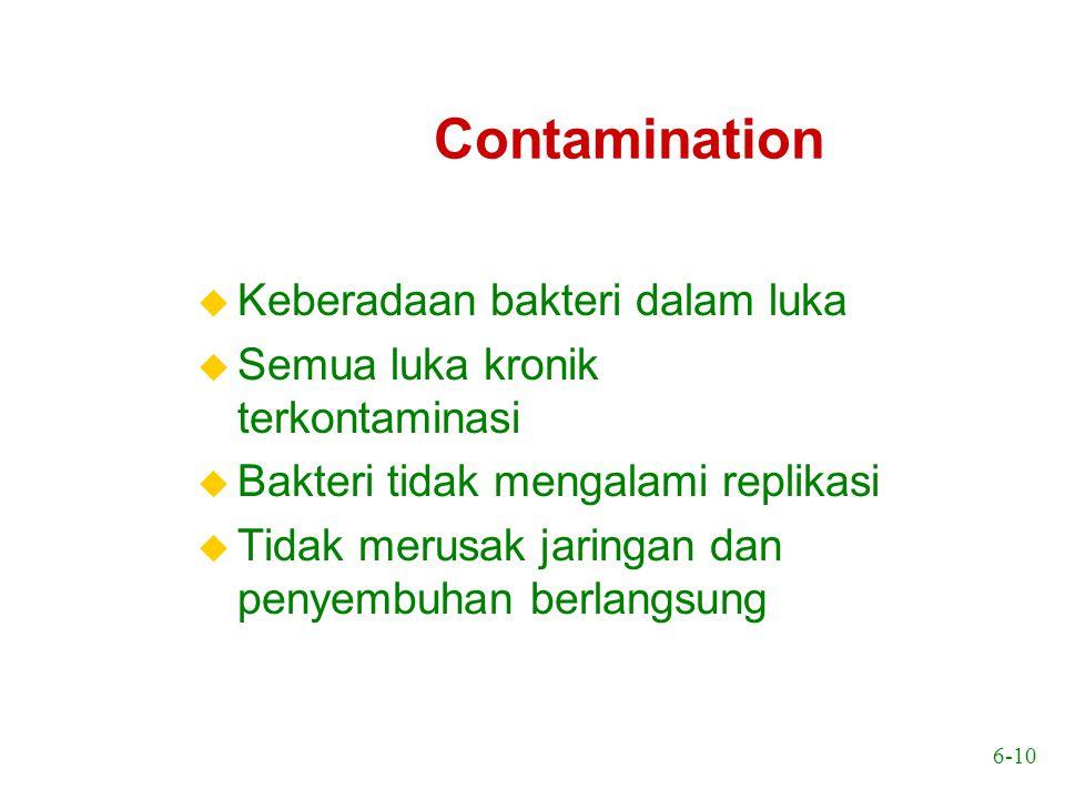 6-10 Contamination u Keberadaan bakteri dalam luka u Semua luka kronik terkontaminasi u Bakteri tidak mengalami replikasi u Tidak merusak jaringan dan