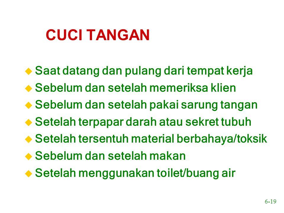 6-20 Mencuci tangan Gunakan sabun, air bersih mengalir 10-15 detik dan pakai handuk pribadi atau tissue Sebagai alternatif, dapat gunakan bilasan alkohol- gliserin (asalkan tangan tak kotor secara fisik)  