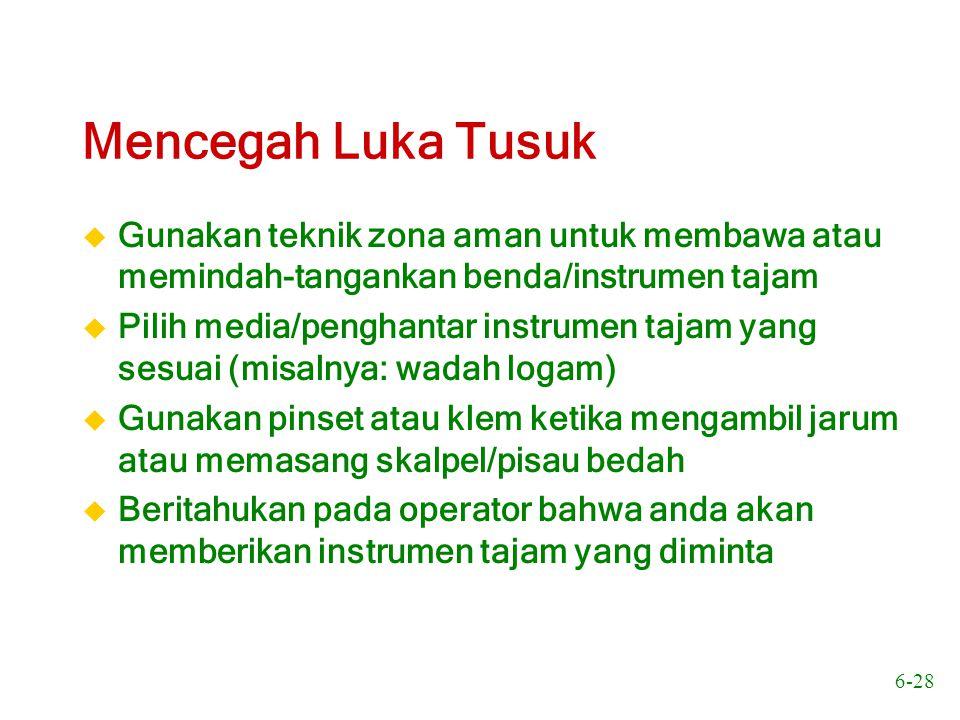 6-29 Mencegah Luka Tusuk u Gunakan pinset saat mengambil jarum dan zona aman sebagai penghantar instrumen tajam