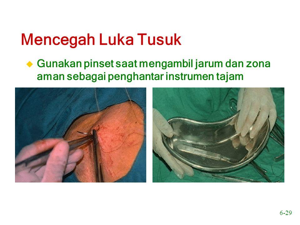 6-30 Mencegah Luka Tusuk Gunakan klem atau pemegang jarum saat memasang atau melepaskan pisau bedah atau instrumen tajam lain yang harus disatukan atau dipisahkan