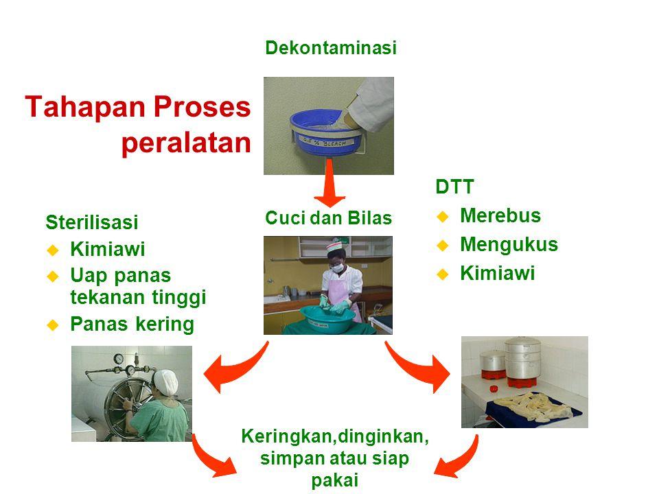 6-33 Dekontaminasi u Masukkan peralatan bekas pakai yang akan digunakan kembali ke dalam larutan klorin 0,5% segera setelah digunakan.
