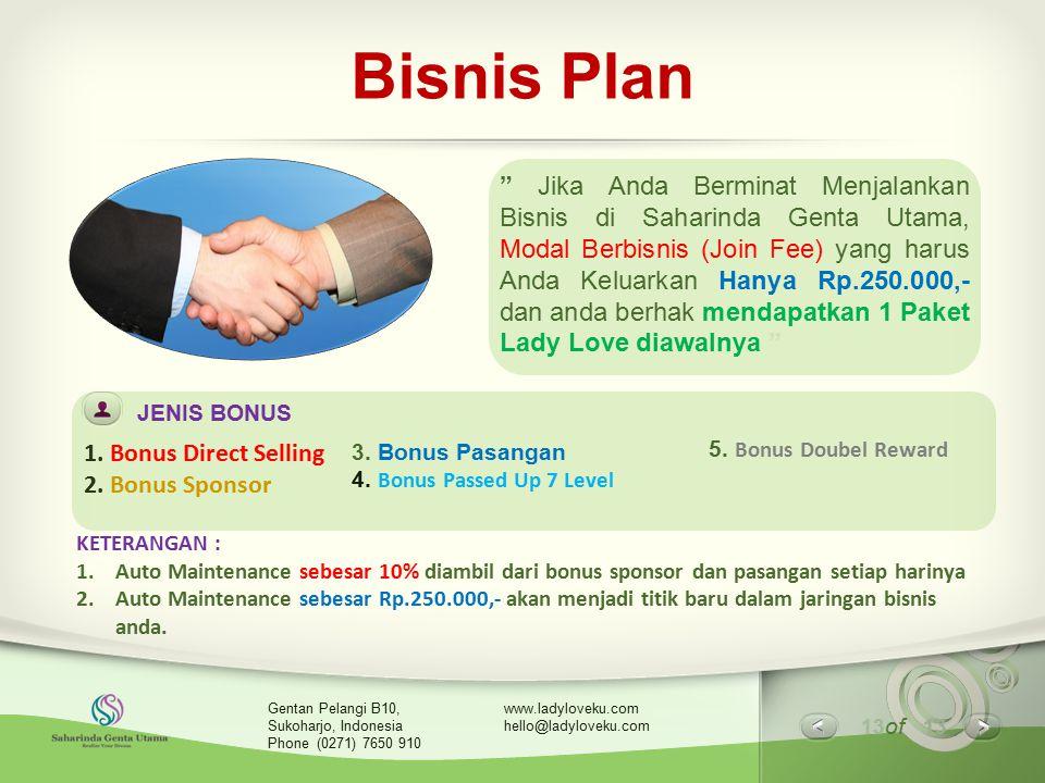 """13 of 13 www.ladyloveku.com hello@ladyloveku.com Gentan Pelangi B10, Sukoharjo, Indonesia Phone (0271) 7650 910 Bisnis Plan """" Jika Anda Berminat Menja"""