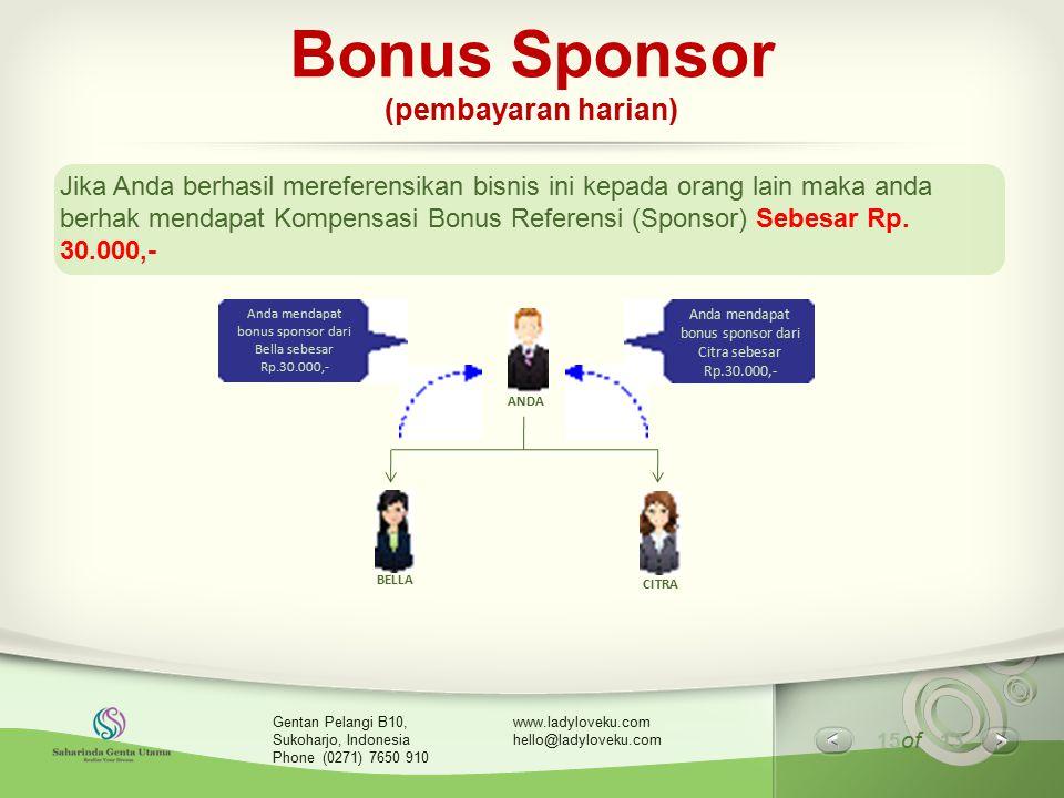 15 of 13 www.ladyloveku.com hello@ladyloveku.com Gentan Pelangi B10, Sukoharjo, Indonesia Phone (0271) 7650 910 Bonus Sponsor (pembayaran harian) Jika