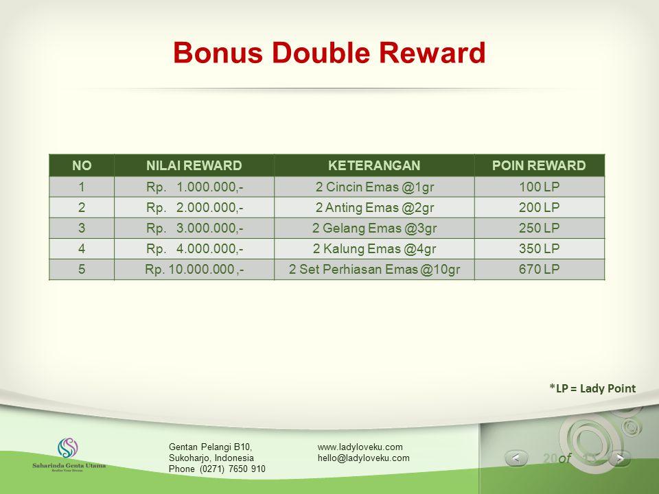 20 of 13 www.ladyloveku.com hello@ladyloveku.com Gentan Pelangi B10, Sukoharjo, Indonesia Phone (0271) 7650 910 Bonus Double Reward NONILAI REWARDKETE