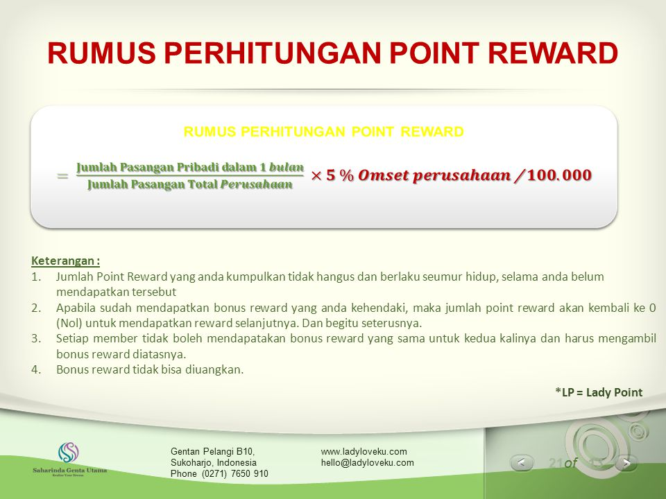 21 of 13 www.ladyloveku.com hello@ladyloveku.com Gentan Pelangi B10, Sukoharjo, Indonesia Phone (0271) 7650 910 RUMUS PERHITUNGAN POINT REWARD Keteran