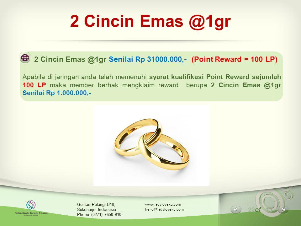 22 of 13 www.ladyloveku.com hello@ladyloveku.com Gentan Pelangi B10, Sukoharjo, Indonesia Phone (0271) 7650 910 2 Cincin Emas @1gr 2 Cincin Emas @1gr
