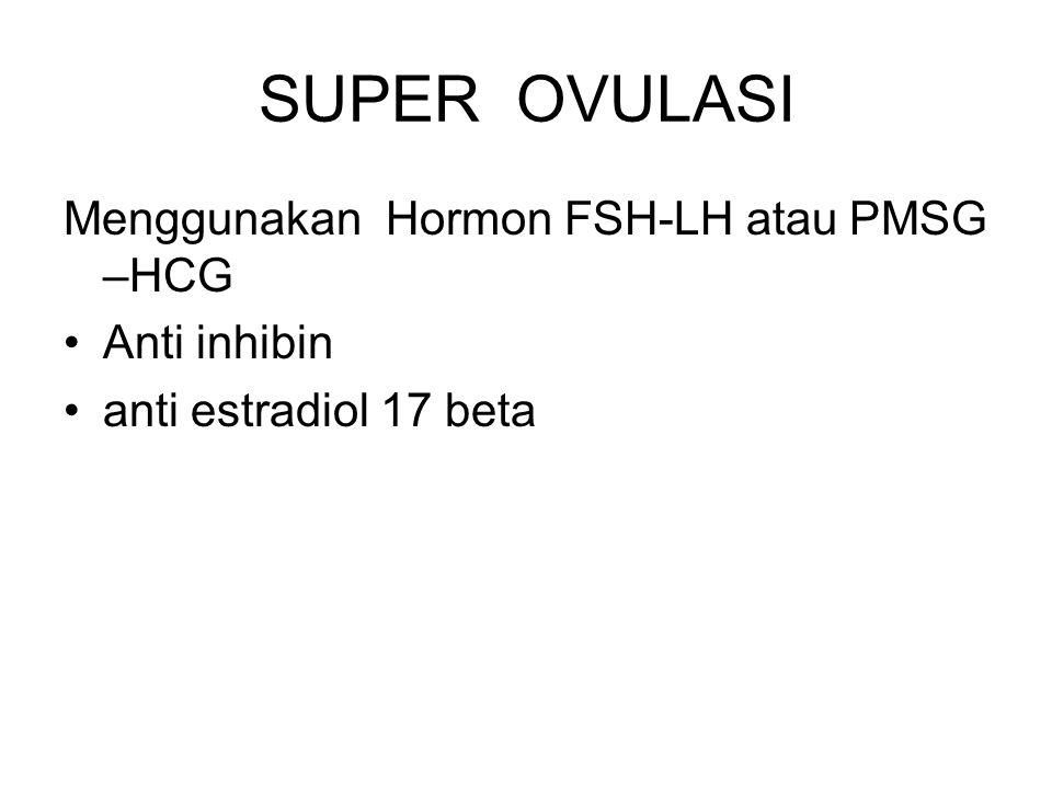 SUPER OVULASI Menggunakan Hormon FSH-LH atau PMSG –HCG Anti inhibin anti estradiol 17 beta