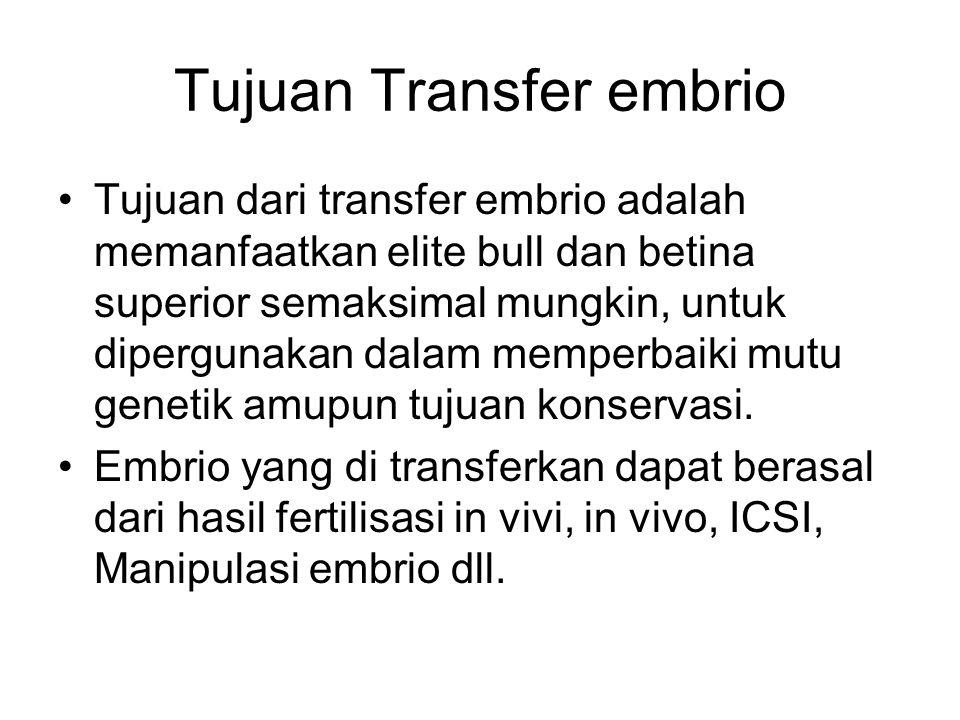 Tujuan Transfer embrio Tujuan dari transfer embrio adalah memanfaatkan elite bull dan betina superior semaksimal mungkin, untuk dipergunakan dalam memperbaiki mutu genetik amupun tujuan konservasi.