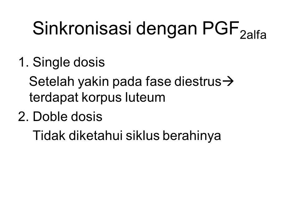 Sinkronisasi dengan PGF 2alfa 1. Single dosis Setelah yakin pada fase diestrus  terdapat korpus luteum 2. Doble dosis Tidak diketahui siklus berahiny