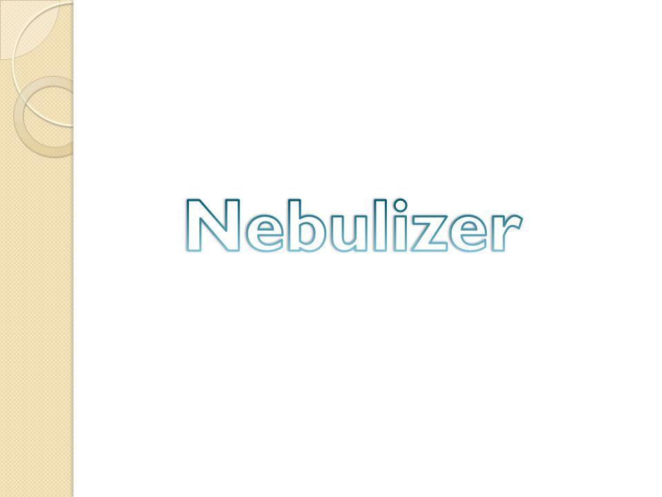 Definisi Alat medis yang digunakan untuk merubah obat dari bentuk cair ke bentuk partikel uap/aerosol menggunakan bantuan tekanan udara dan ultrasonic yang dimasukan ke dalam saluran pernafasan.