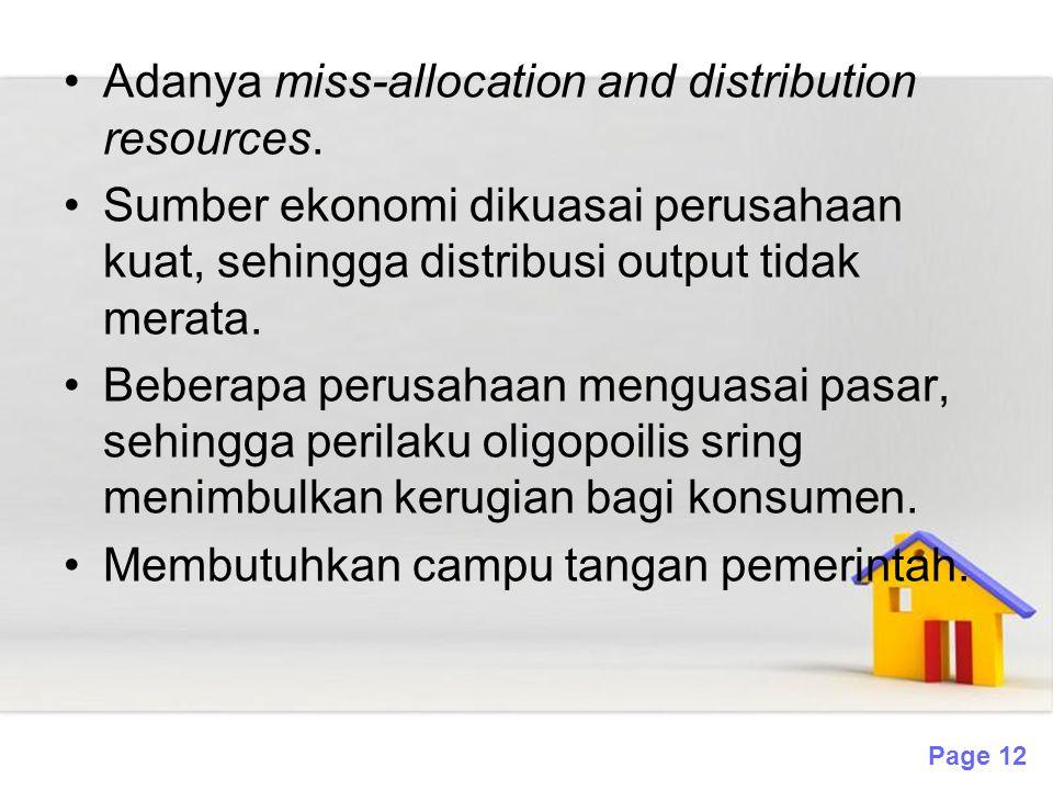 Page 12 Adanya miss-allocation and distribution resources. Sumber ekonomi dikuasai perusahaan kuat, sehingga distribusi output tidak merata. Beberapa