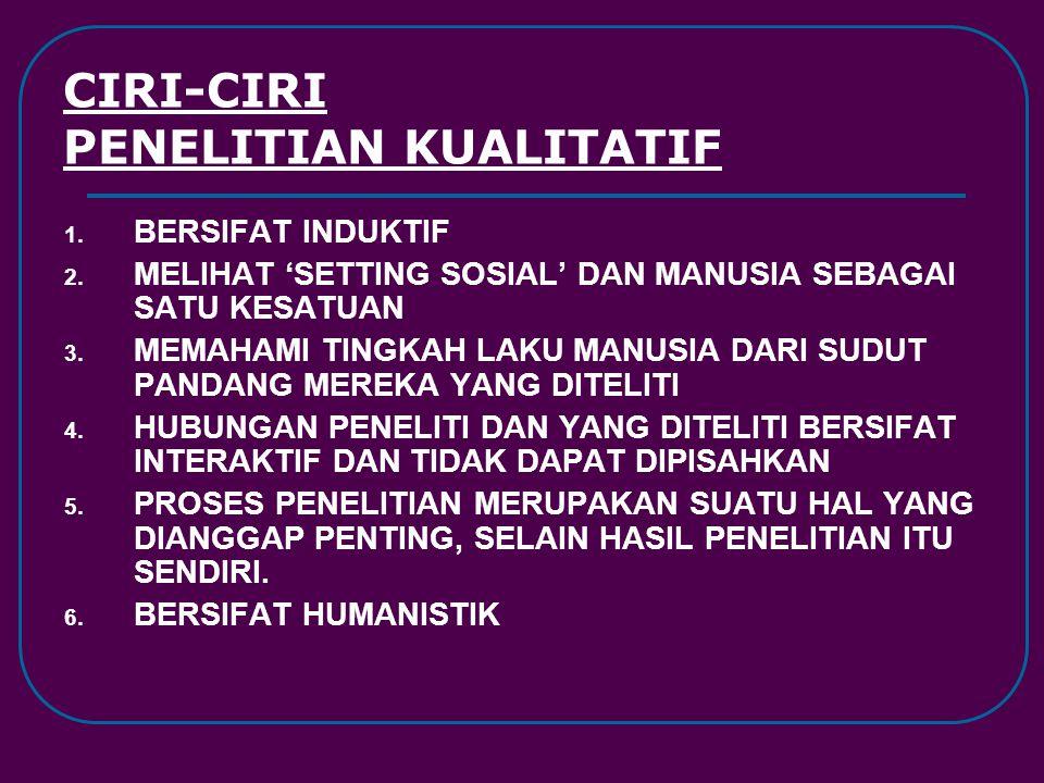 CIRI-CIRI PENELITIAN KUALITATIF 1. BERSIFAT INDUKTIF 2. MELIHAT 'SETTING SOSIAL' DAN MANUSIA SEBAGAI SATU KESATUAN 3. MEMAHAMI TINGKAH LAKU MANUSIA DA