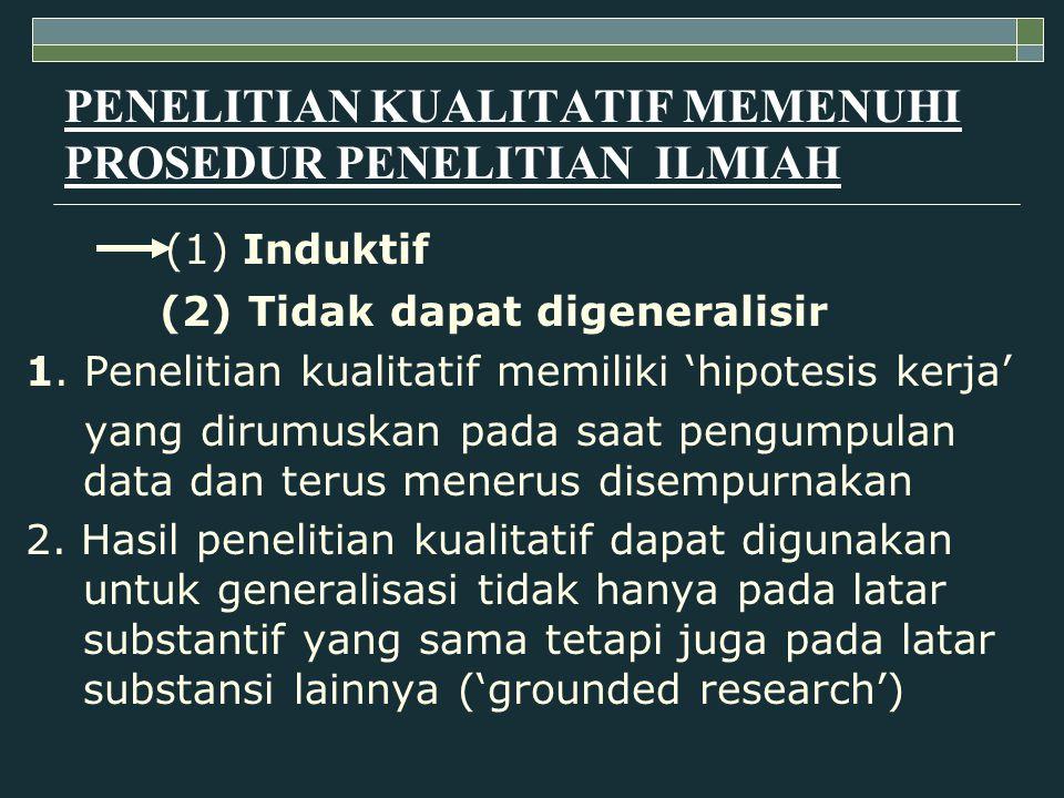 PENELITIAN KUALITATIF MEMENUHI PROSEDUR PENELITIAN ILMIAH (1) Induktif (2) Tidak dapat digeneralisir 1. Penelitian kualitatif memiliki 'hipotesis kerj