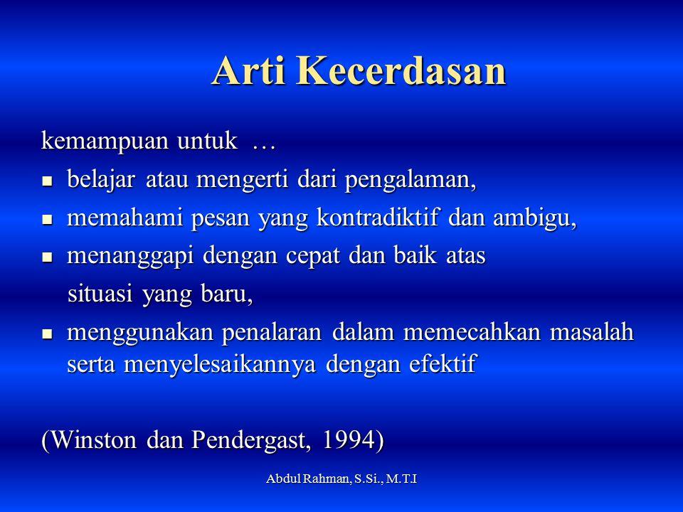Kecerdasan Buatan VS Kecerdasan Alami Abdul Rahman, S.Si., M.T.I
