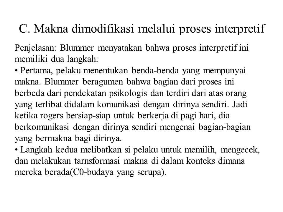 C. Makna dimodifikasi melalui proses interpretif Penjelasan: Blummer menyatakan bahwa proses interpretif ini memiliki dua langkah: Pertama, pelaku men