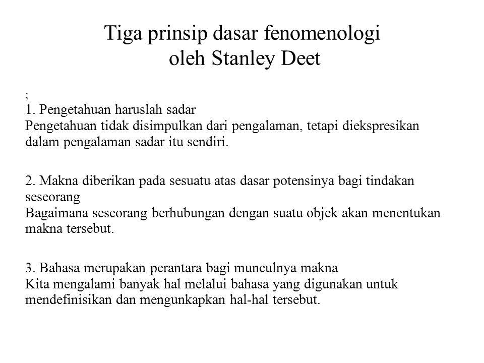 Tiga prinsip dasar fenomenologi oleh Stanley Deet ; 1. Pengetahuan haruslah sadar Pengetahuan tidak disimpulkan dari pengalaman, tetapi diekspresikan