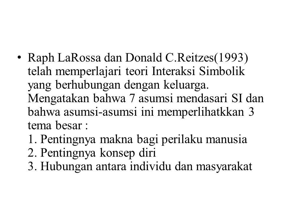 Raph LaRossa dan Donald C.Reitzes(1993) telah memperlajari teori Interaksi Simbolik yang berhubungan dengan keluarga.