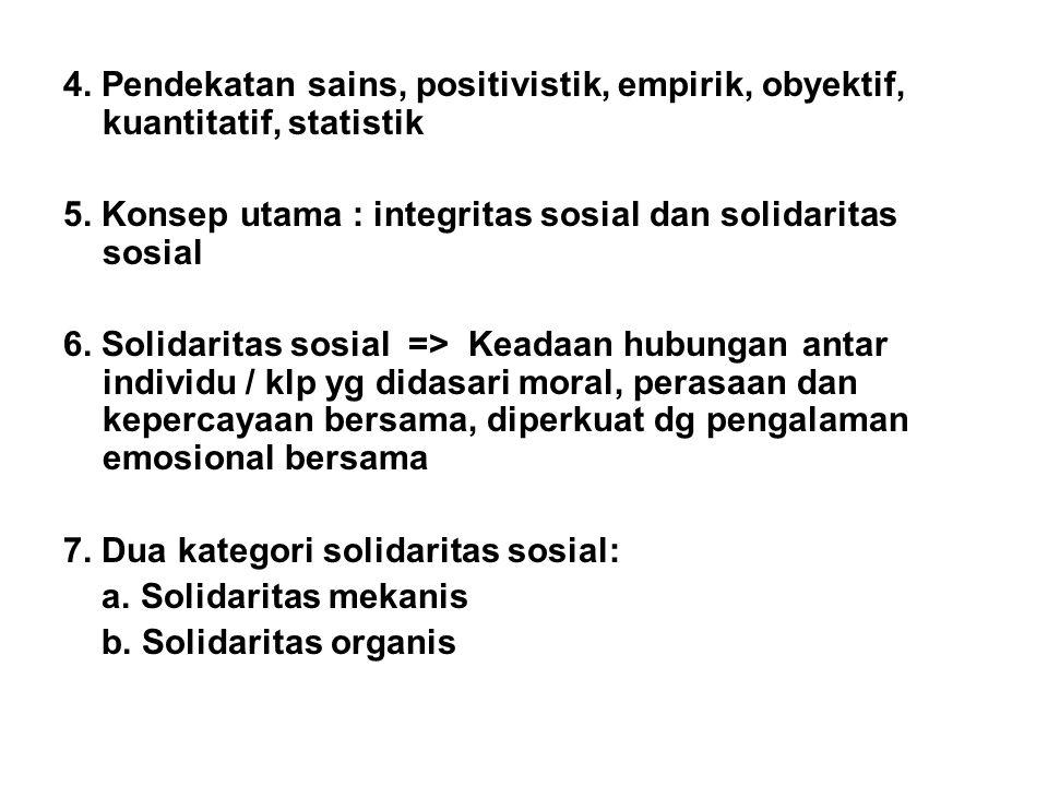 4. Pendekatan sains, positivistik, empirik, obyektif, kuantitatif, statistik 5. Konsep utama : integritas sosial dan solidaritas sosial 6. Solidaritas