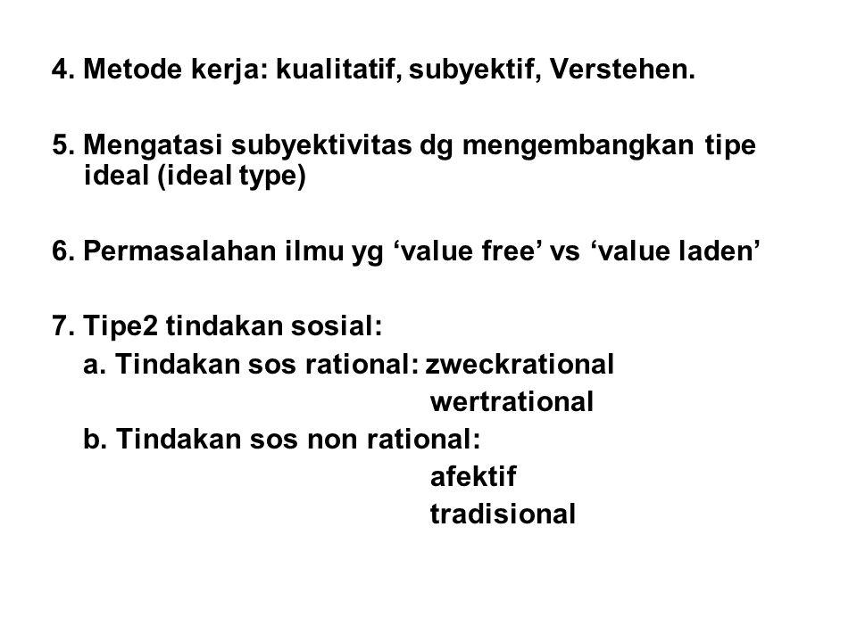 4. Metode kerja: kualitatif, subyektif, Verstehen. 5. Mengatasi subyektivitas dg mengembangkan tipe ideal (ideal type) 6. Permasalahan ilmu yg 'value