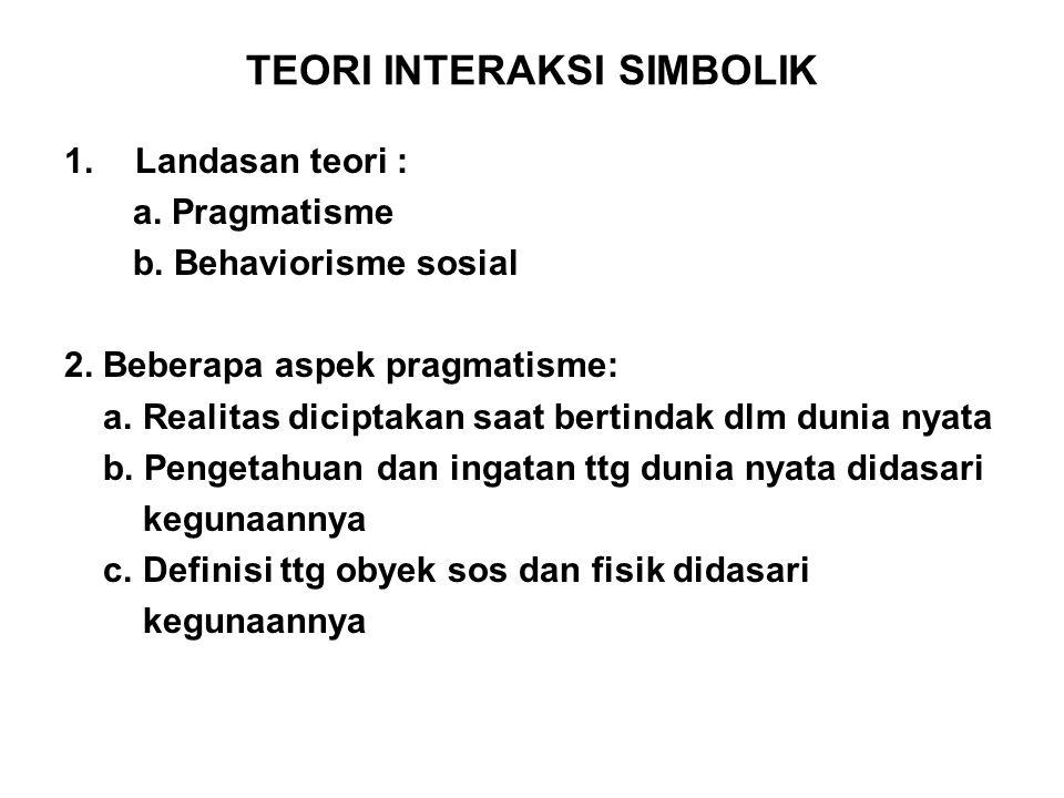 TEORI INTERAKSI SIMBOLIK 1.Landasan teori : a. Pragmatisme b. Behaviorisme sosial 2. Beberapa aspek pragmatisme: a. Realitas diciptakan saat bertindak