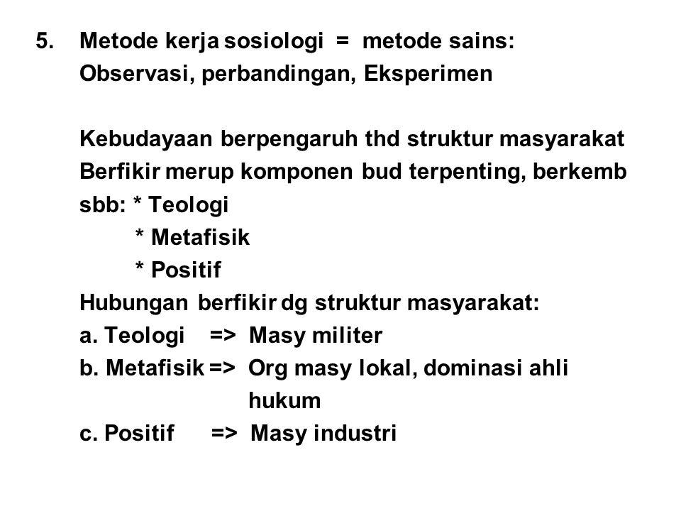5. Metode kerja sosiologi = metode sains: Observasi, perbandingan, Eksperimen Kebudayaan berpengaruh thd struktur masyarakat Berfikir merup komponen b