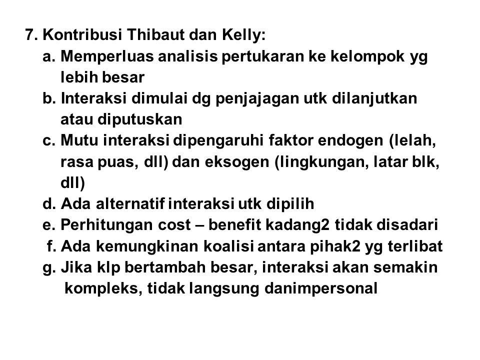 7. Kontribusi Thibaut dan Kelly: a. Memperluas analisis pertukaran ke kelompok yg lebih besar b. Interaksi dimulai dg penjajagan utk dilanjutkan atau