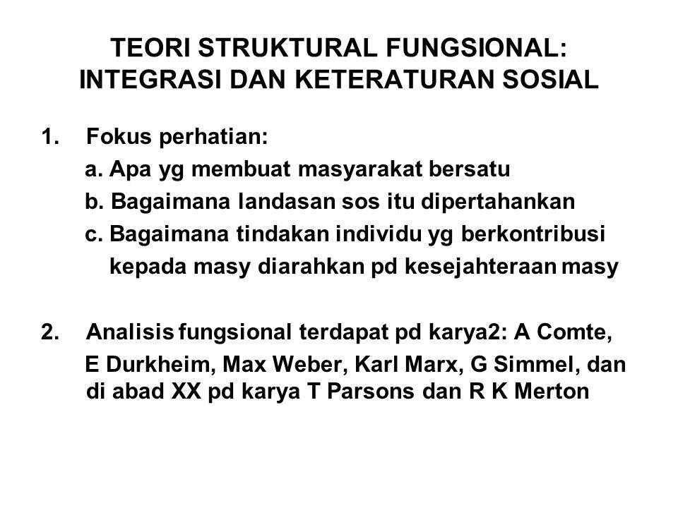 TEORI STRUKTURAL FUNGSIONAL: INTEGRASI DAN KETERATURAN SOSIAL 1.Fokus perhatian: a. Apa yg membuat masyarakat bersatu b. Bagaimana landasan sos itu di