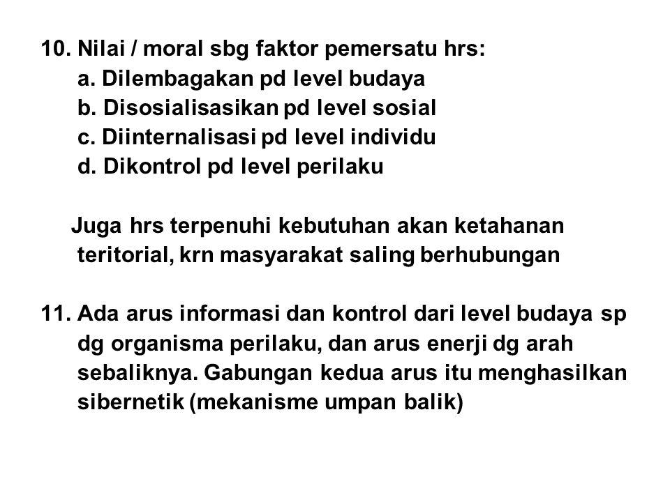 10. Nilai / moral sbg faktor pemersatu hrs: a. Dilembagakan pd level budaya b. Disosialisasikan pd level sosial c. Diinternalisasi pd level individu d