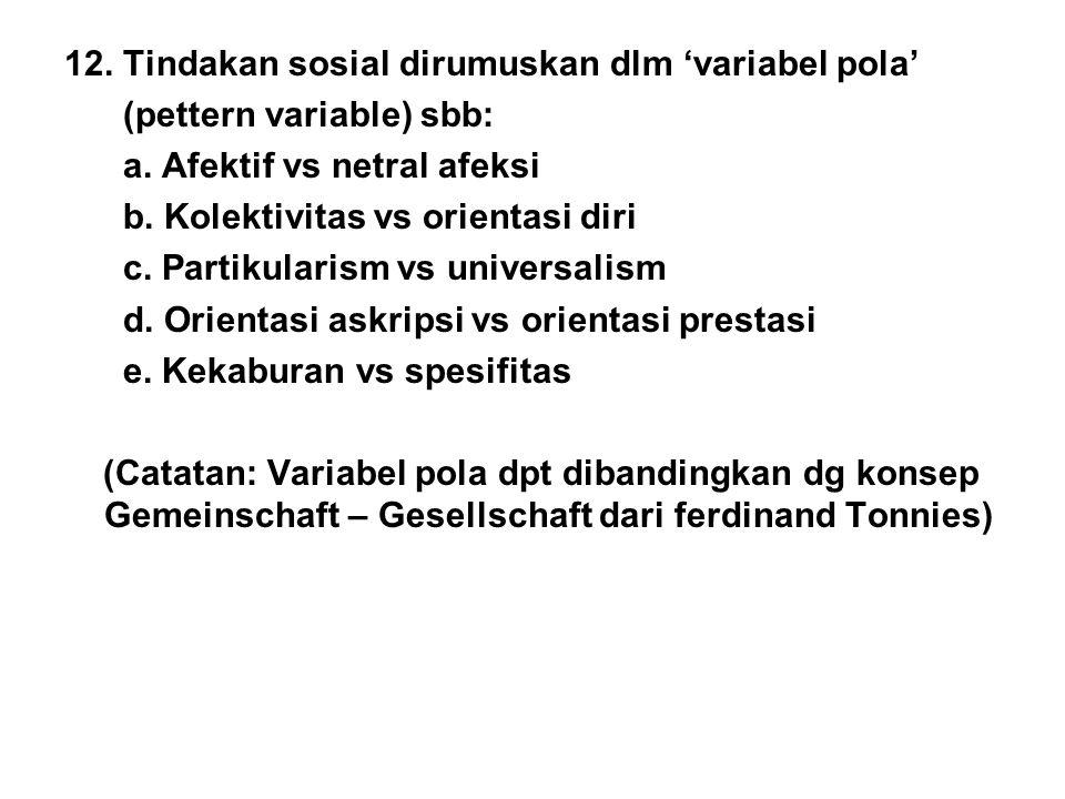 12. Tindakan sosial dirumuskan dlm 'variabel pola' (pettern variable) sbb: a. Afektif vs netral afeksi b. Kolektivitas vs orientasi diri c. Partikular