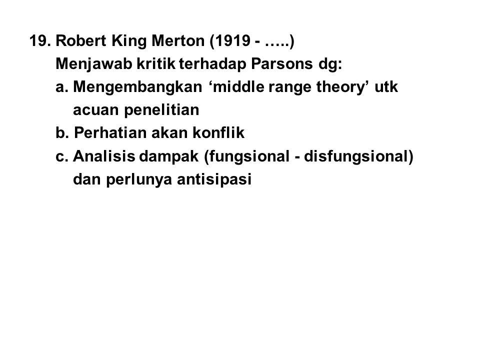 19. Robert King Merton (1919 - …..) Menjawab kritik terhadap Parsons dg: a. Mengembangkan 'middle range theory' utk acuan penelitian b. Perhatian akan