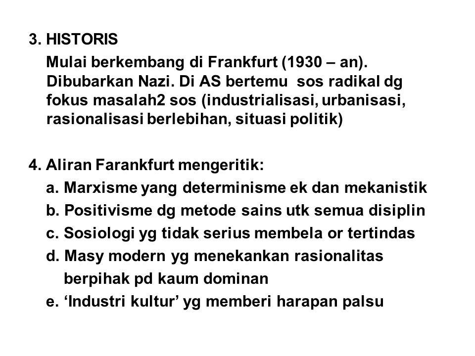 3. HISTORIS Mulai berkembang di Frankfurt (1930 – an). Dibubarkan Nazi. Di AS bertemu sos radikal dg fokus masalah2 sos (industrialisasi, urbanisasi,