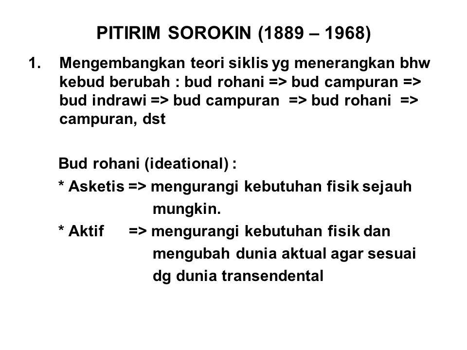PITIRIM SOROKIN (1889 – 1968) 1.Mengembangkan teori siklis yg menerangkan bhw kebud berubah : bud rohani => bud campuran => bud indrawi => bud campura
