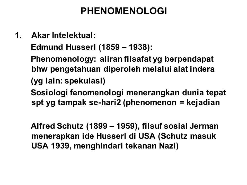 PHENOMENOLOGI 1.Akar Intelektual: Edmund Husserl (1859 – 1938): Phenomenology: aliran filsafat yg berpendapat bhw pengetahuan diperoleh melalui alat i