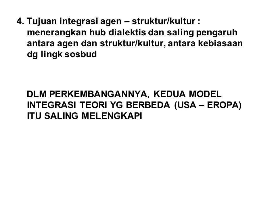 4. Tujuan integrasi agen – struktur/kultur : menerangkan hub dialektis dan saling pengaruh antara agen dan struktur/kultur, antara kebiasaan dg lingk