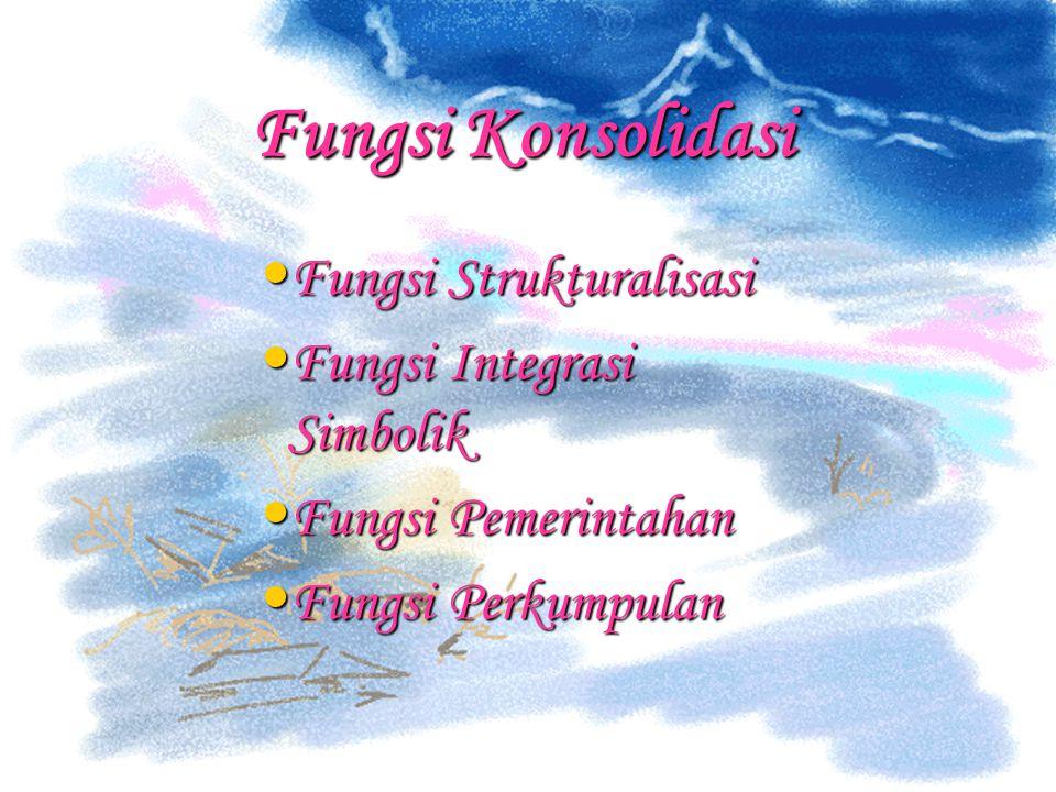 Fungsi Konsolidasi Fungsi Strukturalisasi Fungsi Strukturalisasi Fungsi Integrasi Simbolik Fungsi Integrasi Simbolik Fungsi Pemerintahan Fungsi Pemeri