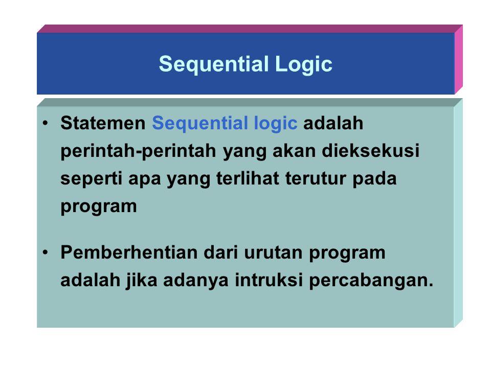 Sequential Logic Statemen Sequential logic adalah perintah-perintah yang akan dieksekusi seperti apa yang terlihat terutur pada program Pemberhentian