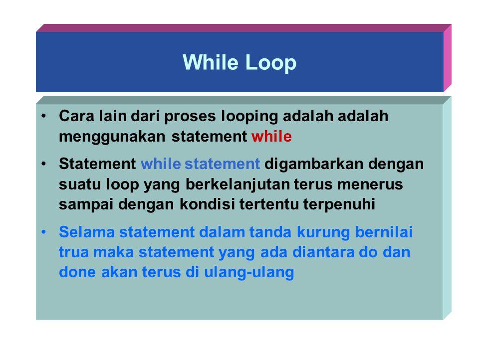 While Loop Cara lain dari proses looping adalah adalah menggunakan statement while Statement while statement digambarkan dengan suatu loop yang berkel