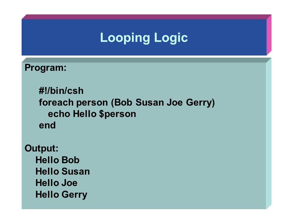 Looping Logic Program: #!/bin/csh foreach person (Bob Susan Joe Gerry) echo Hello $person end Output: Hello Bob Hello Susan Hello Joe Hello Gerry